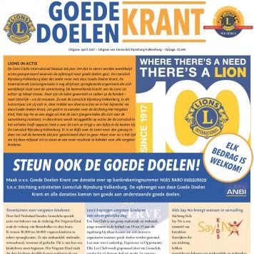 Lions Club Rijnsburg-Valkenburg brengt Goede Doelen Krant uit naar aanleiding van het lusterumLions Clubs International.